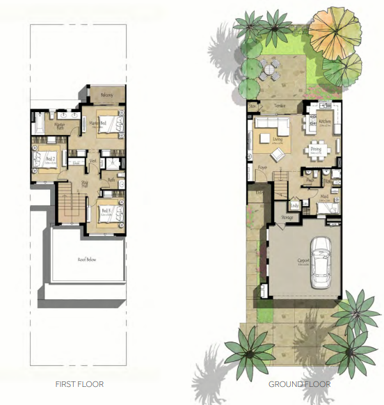 Planning of the apartment Villas 3BR, 2072.81 in Noor Townhouses, Dubai