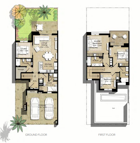 Planning of the apartment Villas 4BR, 2325.22 in Noor Townhouses, Dubai