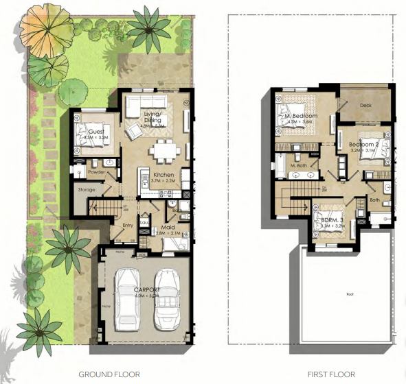 Planning of the apartment Villas 4BR, 2327.16 in Noor Townhouses, Dubai