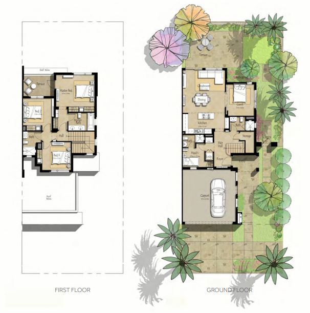 Planning of the apartment Villas 4BR, 2354.93 in Noor Townhouses, Dubai