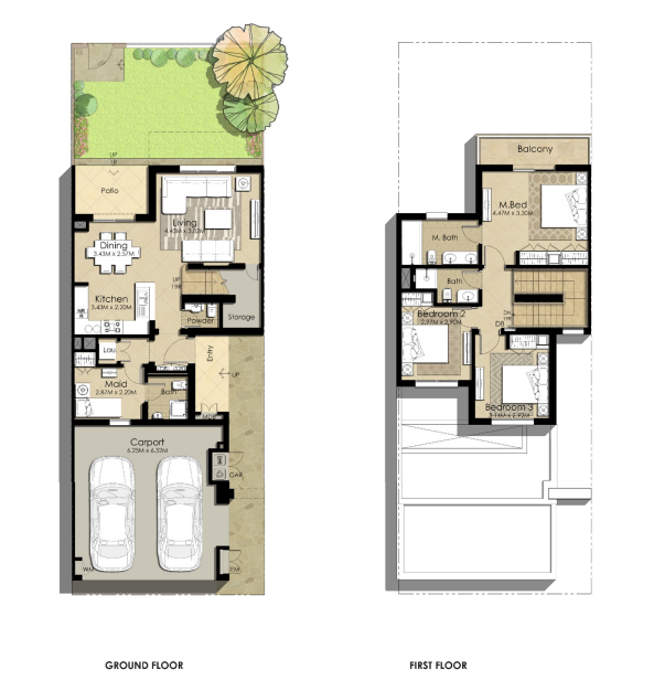 Planning of the apartment Villas 3BR, 2129.1 in Sama Townhouses, Dubai