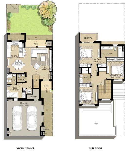 Planning of the apartment Villas 3BR, 2216.72 in Sama Townhouses, Dubai