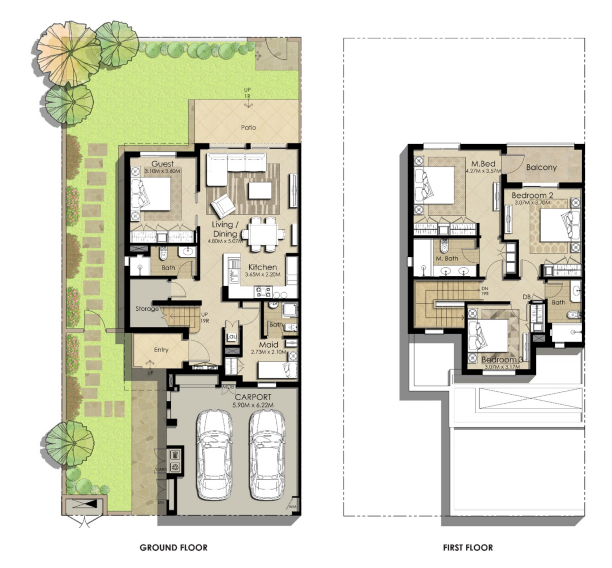 Planning of the apartment Villas 4BR, 2430.38 in Sama Townhouses, Dubai