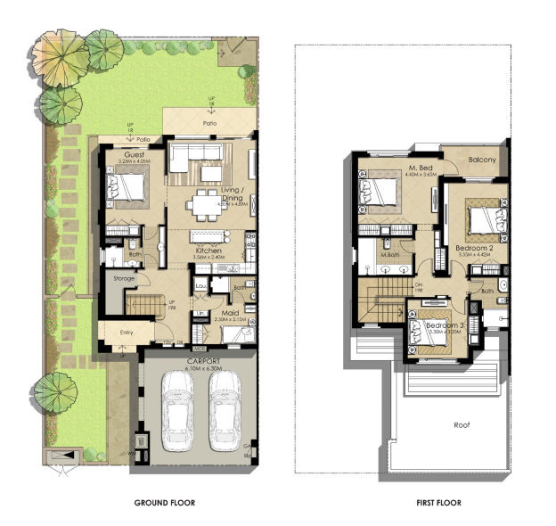 Planning of the apartment Villas 4BR, 2445.78 in Sama Townhouses, Dubai