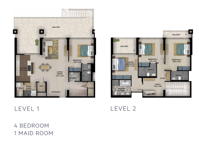 Planning of the apartment Duplexes, 2260 in Oia Residence, Dubai