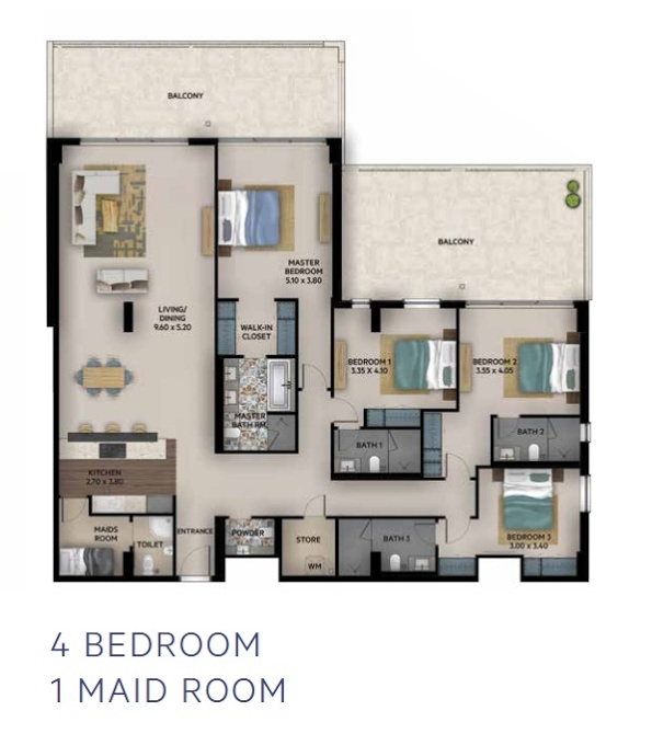 Planning of the apartment 4BR, 2930 in Oia Residence, Dubai
