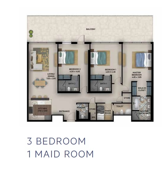 Planning of the apartment 3BR, 1380 in Oia Residence, Dubai