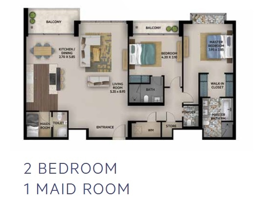 Planning of the apartment 2BR, 1380 in Oia Residence, Dubai