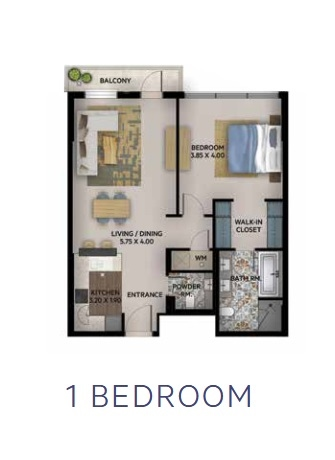 Planning of the apartment 1BR, 810 in Oia Residence, Dubai