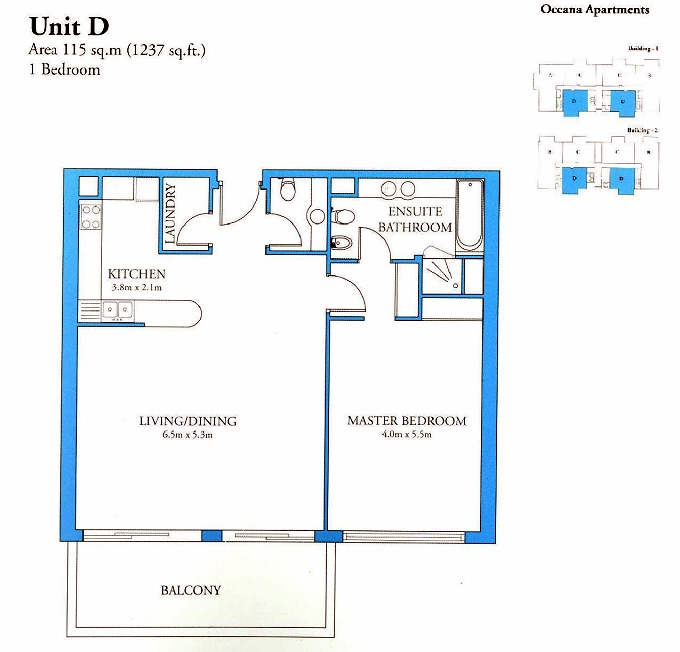 Planning of the apartment 1BR, 1237 in Oceana, Dubai