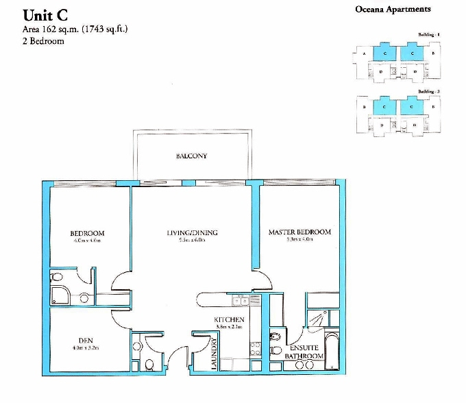 Planning of the apartment 2BR, 1743 in Oceana, Dubai