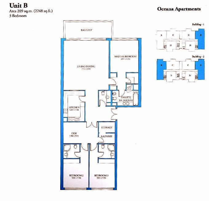 Planning of the apartment 3BR, 2248 in Oceana, Dubai