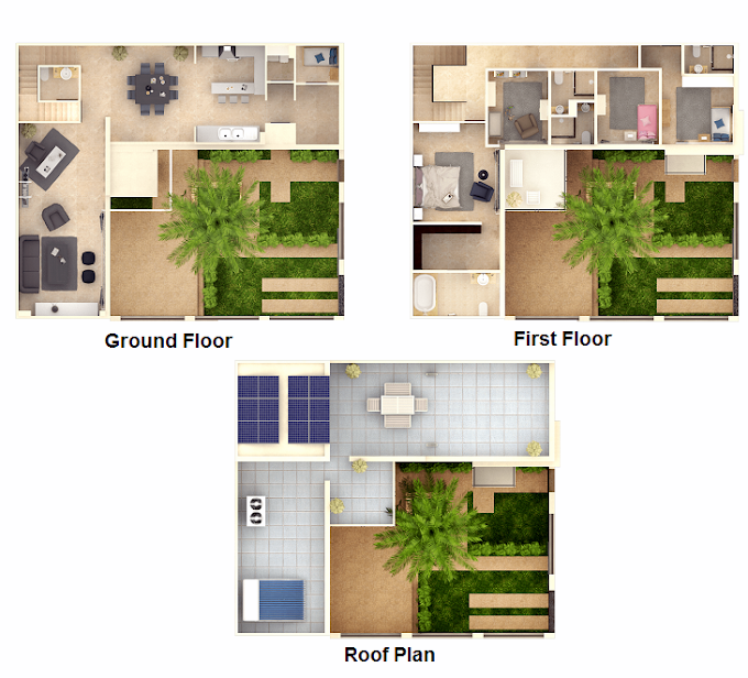 Planning of the apartment Villas 4BR, 3777 in The Sustainable City, Dubai