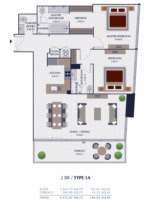 Planning of the apartment 2BR, 1572.07 in Park Gate Residences, Dubai
