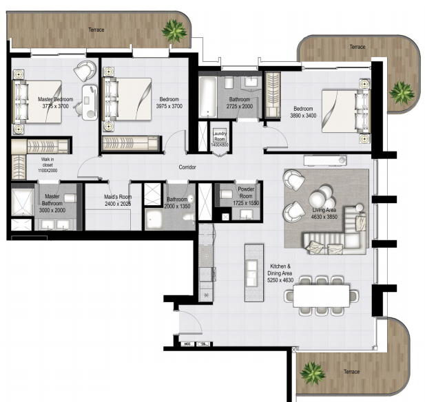 Planning of the apartment 3BR, 2042.24 in Marina Vista, Dubai