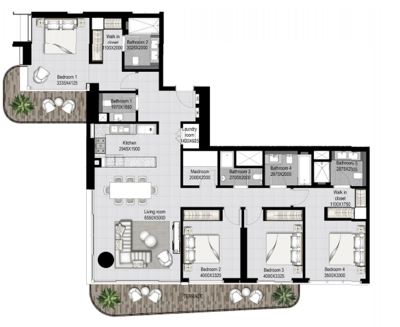 Planning of the apartment 4BR, 2249.44 in Marina Vista, Dubai