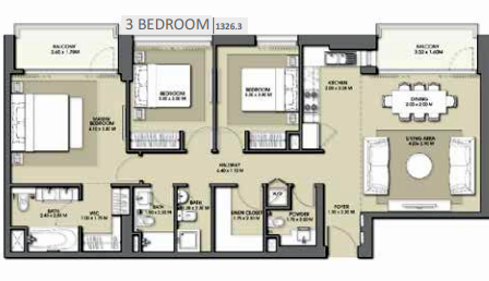 Planning of the apartment 3BR, 1326.3 in Park Point Apartments, Dubai
