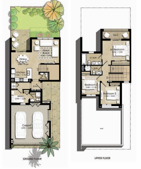 Planning of the apartment Villas 3BR, 2146 in Zahra Townhouses, Dubai