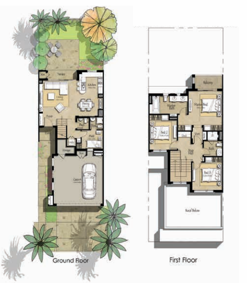 Planning of the apartment Villas 3BR, 2229.1 in Zahra Townhouses, Dubai