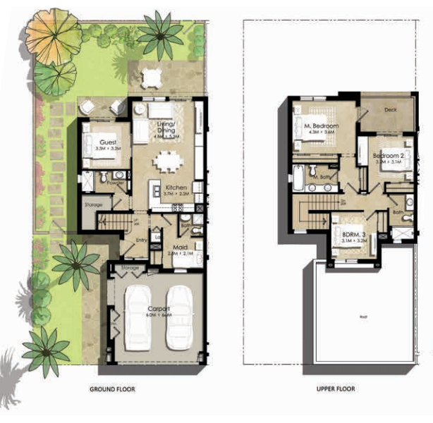 Planning of the apartment Villas 4BR, 2423.4 in Zahra Townhouses, Dubai
