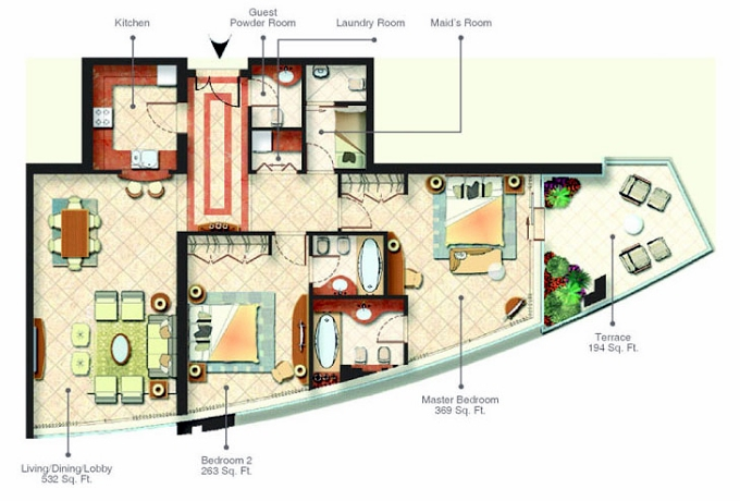 Planning of the apartment 2BR, 1657 in Trident Bayside, Dubai