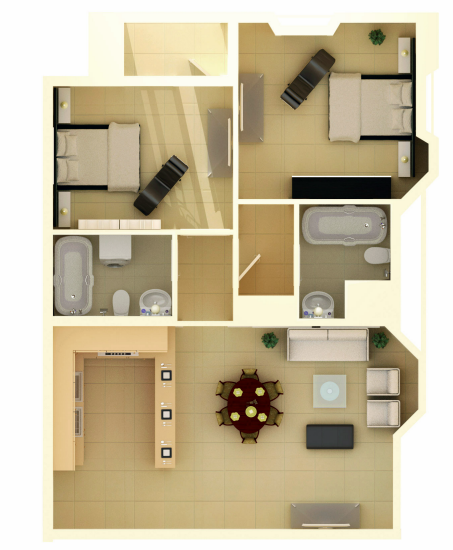 Planning of the apartment 2BR, 773.06 in Marina Wharf 2, Dubai
