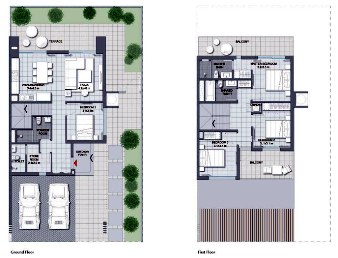 Planning of the apartment Villas 4BR, 2485.82 in Expo Golf Villas, Dubai