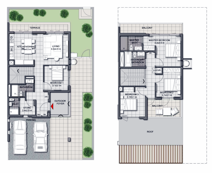 Planning of the apartment Villas 4BR, 2542.86 in Expo Golf Villas, Dubai