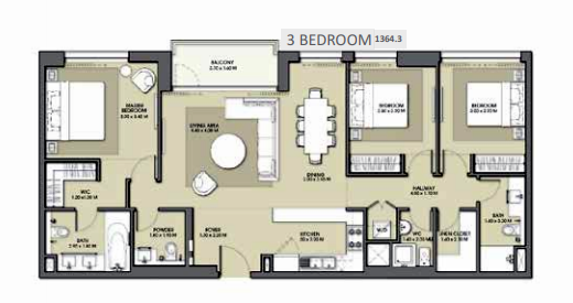 Planning of the apartment 3BR, 1364.3 in Park Point Apartments, Dubai