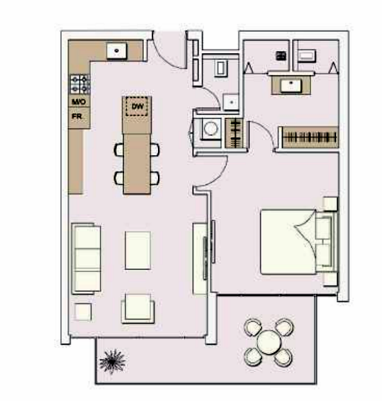 Planning of the apartment 1BR, 781 in Signature Livings, Dubai