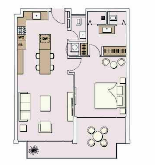 Planning of the apartment 1BR, 836 in Signature Livings, Dubai