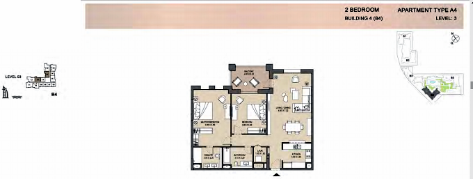 Planning of the apartment 2BR, 1287 in Rahaal, Dubai