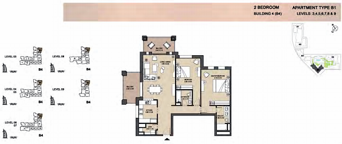 Planning of the apartment 2BR, 1498 in Rahaal, Dubai