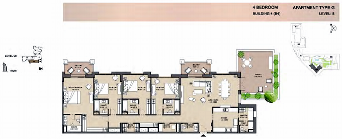 Planning of the apartment 4BR, 2840 in Rahaal, Dubai