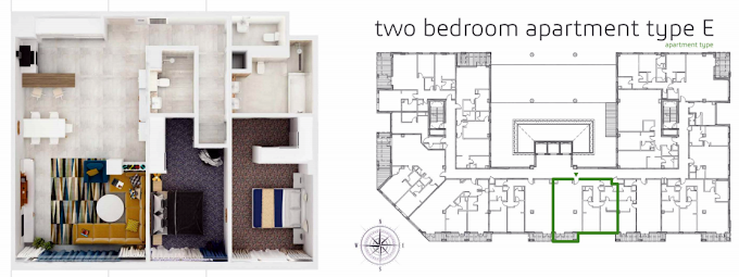 Planning of the apartment 2BR, 1410 in Grenland Residence, Dubai