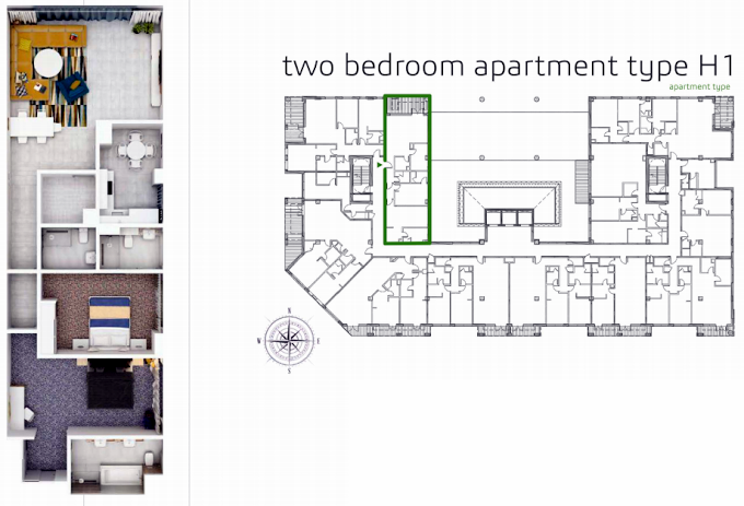 Planning of the apartment 2BR, 1523.8 in Grenland Residence, Dubai