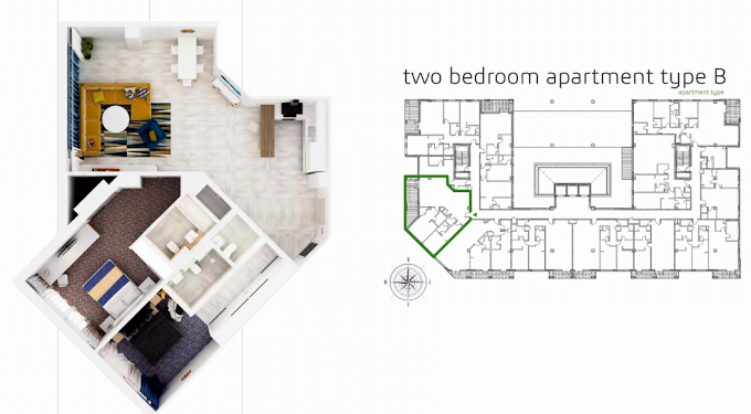 Planning of the apartment 2BR, 1635.3 in Grenland Residence, Dubai