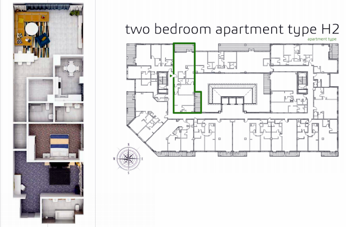 Planning of the apartment 2BR, 1677.8 in Grenland Residence, Dubai