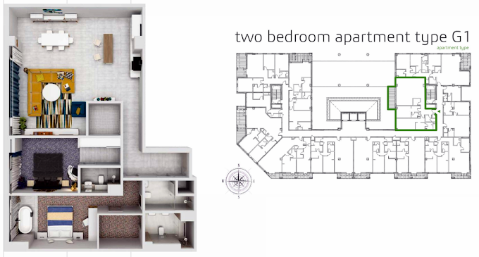 Planning of the apartment 2BR, 1735.9 in Grenland Residence, Dubai