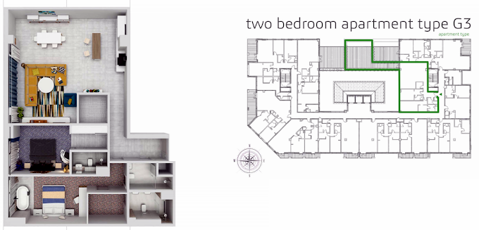 Planning of the apartment 2BR, 2366.1 in Grenland Residence, Dubai