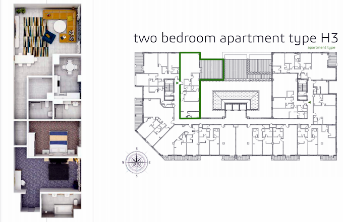 Planning of the apartment 2BR, 2108.9 in Grenland Residence, Dubai