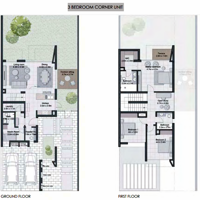 Planning of the apartment Villa 3BR, 2367 in Cherrywoods, Dubai