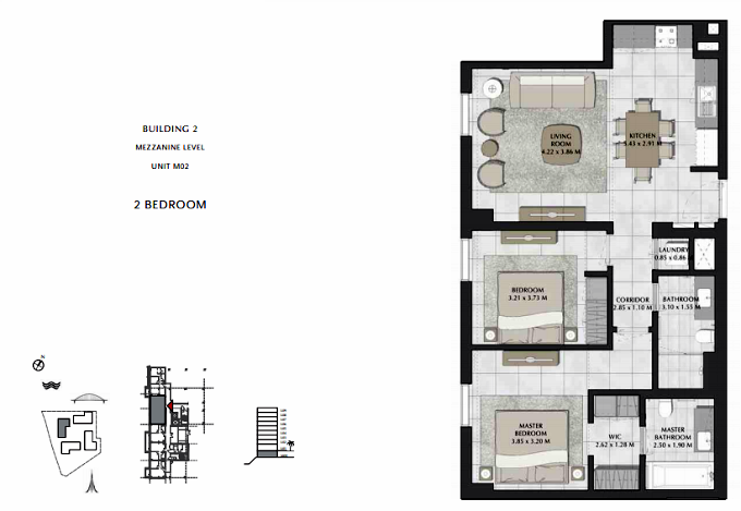 Planning of the apartment 2BR, 916.01 in Bayshore, Dubai