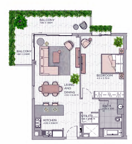 Planning of the apartment 1BR, 1054.01 in Central Park at City Walk, Dubai