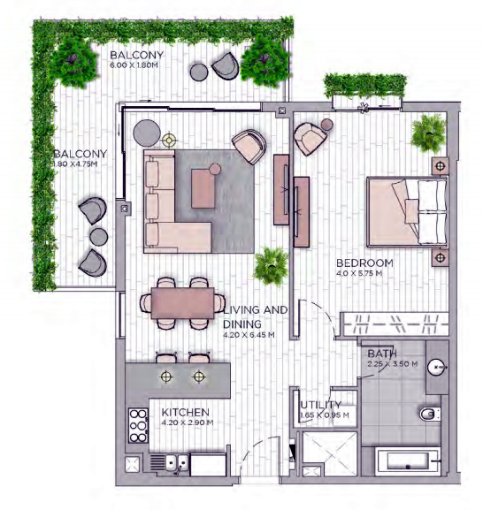 Planning of the apartment 1BR, 1068.54 in Central Park at City Walk, Dubai