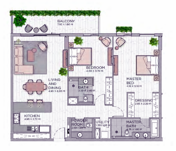 Planning of the apartment 2BR, 1513.74 in Central Park at City Walk, Dubai