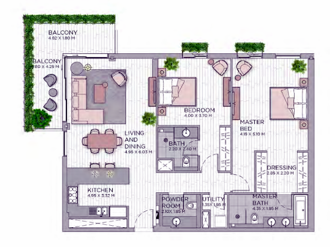 Planning of the apartment 2BR, 1538.07 in Central Park at City Walk, Dubai