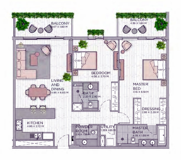 Planning of the apartment 2BR, 1545.28 in Central Park at City Walk, Dubai
