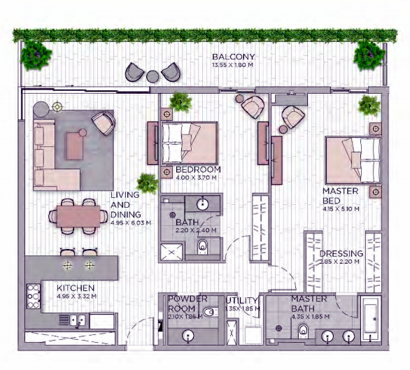 Planning of the apartment 2BR, 1617.94 in Central Park at City Walk, Dubai