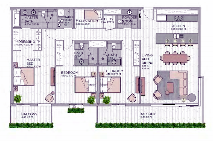 Planning of the apartment 3BR, 2142.36 in Central Park at City Walk, Dubai
